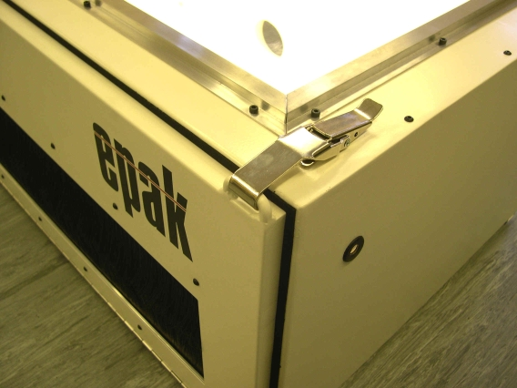 Custom Fossil Blast Cabinet heavy duty latches and wide brush opening