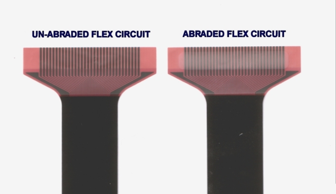 Flex Circuit Micro Abrader Comparisson Before and After